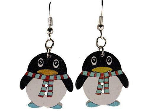 Ohrringe Ohrhänger Hänger Holz Pinguin Antarktis Südpol Tiere Vogel Zoo 10.143