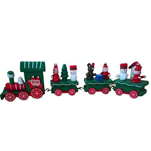 HEVÜY Weihnachtszug aus Holz Weihnachten Weihnachtsmann Schneemann Zug für Kinder Festliche Geschenk Spielzeug