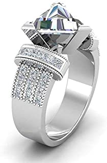 DUANMEINAD Women Trillion Cut White Sapphire 925 Silver Jewelry Wedding Ring Size 6-10 (US Code 6)