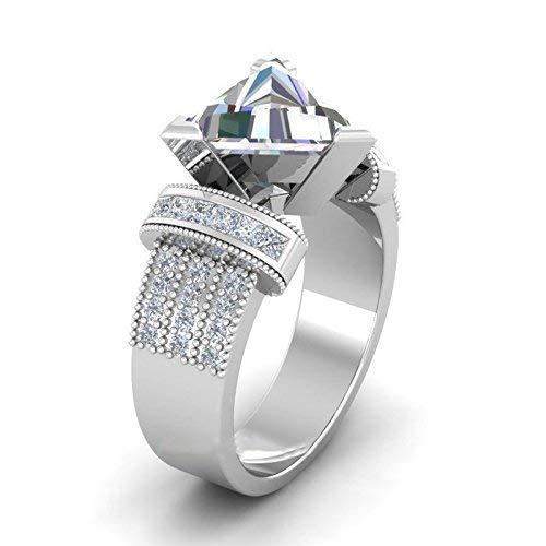 DUANMEINAD Women Trillion Cut White Sapphire 925 Silver Jewelry Wedding Ring Size 6-10 (US Code 9)