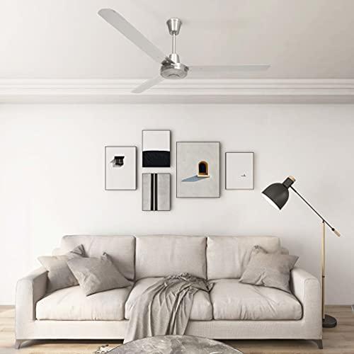 Famehours Ventilatore da Soffitto 142 cm Argento