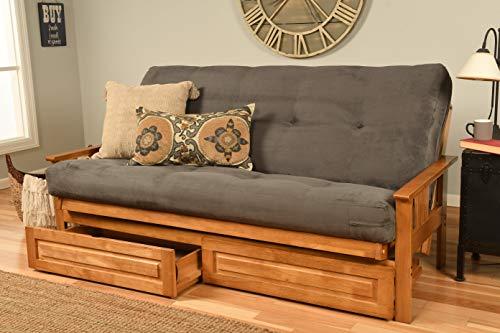 St Paul Furniture Eldorado Wood Futon and Mattress Set w/ 8 Inch Coil Mattress Sofa Best Bed Choice to Add Drawer Set (Slate Matt, Frame and Drawers)