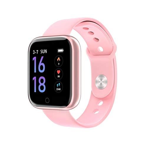 GYY Moda De Acero Inoxidable Reloj Inteligente Hombres Productos Electrónicos Deportes Reloj De Pulsera para Android iOS Cuadrado SmartWatch Smart Reloj Horas (Color : Pink)