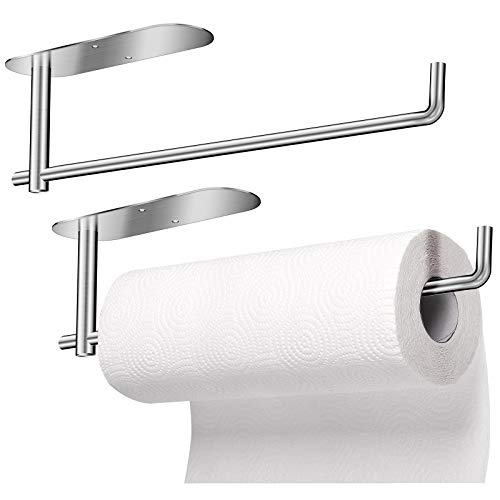 JUOIFIP 2 Pack Under Cabinet Paper Towel Holder, Kitchen Towel Holder 13.8 inch Larger Rolls Paper Towel Rack Available in Self Adhesive and Screws, SUS304 Stainless Steel