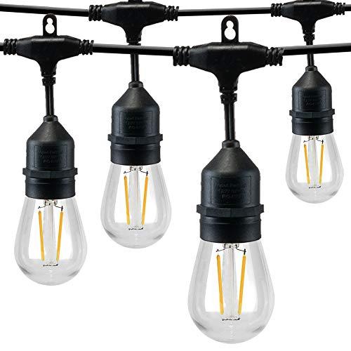 Sunthin - Guirnalda de luces para exterior e interior, 2700 K, luz blanca cálida, IP65, 15 metros con 15 bombillas regulables S14 con 1 bombilla de repuesto para balcón, jardín, fiesta, Navidad, boda