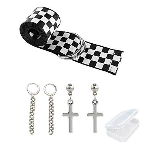PPX Cinturones de Damas a Cuadros y 2 pares BTS Aretes Set-Cinturones de Lona con Hombres Ocasionales Mujeres Damas Tablero de Lona D Anillo Cinturón A Cuadros Correa de Cintura -135cm