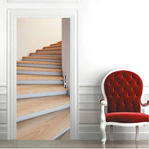 XinYaJie Door Stickers Spiral Staircase Wooden Decorative Vinyls Removable Porta Sticker Murals Deursticker Apartment Bedroom Room Decor