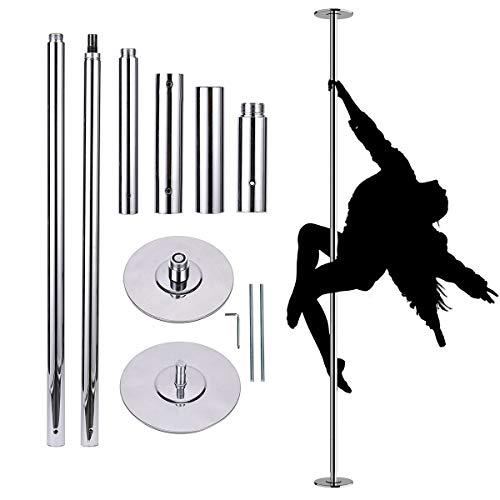 COSTWAY profesjonell dansestang Static & Spinning, 45 mm pole dance pole 2,23 m til 2,82 m høydejusterbar, stripestang uten boring, inkl. Verktøysett for hjem, klubb, treningsstudio og fester