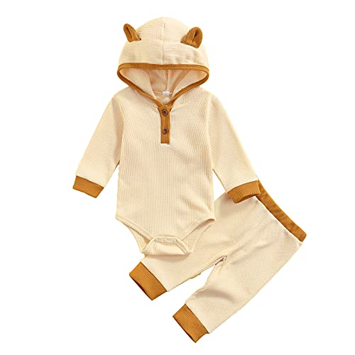 Newborn Baby Girl Boy Clothes Set Knitted Hooded Romper Long Pants Unisex Infant Outfits Winter Fall (Khaki,12-18 Months)