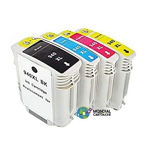 Mondial Cartucho HP-940 XL - Pack de 4 cartuchos de tinta compatibles con HP - 4 colores - HP-940 Pack XL