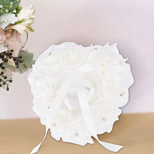 Raguso Canasta de Flores para niña, cojín para Portador de Anillo, Soporte para Anillo en Forma de corazón, decoración del hogar para joyería