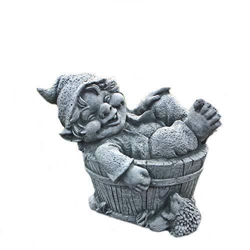 Steinfigur Troll im Fass Steinguss Gnom Kobold Wichtel Frostfest Garten Deko