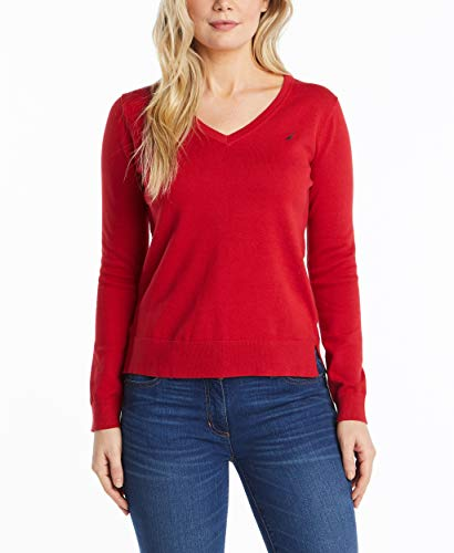 Nautica - Suéter sin Esfuerzo para Mujer de Manga Larga y Cuello en V 100% algodón, Rojo náutico, L
