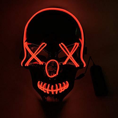 YISC El Wire Maschera Luminosa LED Luminoso Che Illumina Cool Halloween Party Show Maschere DJ Compleanno Grimace Festival (Black-Red 010)
