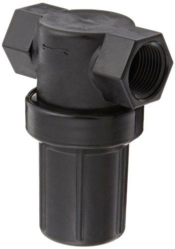 Banjo LSTM075-30 Polypropylene Mini T-Strainer with Black Bowl, 30 Mesh, 3/4' NPT Female