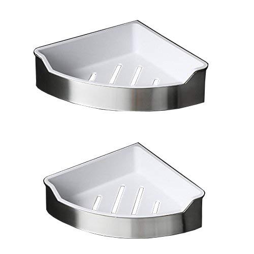 Beelee Edelstahl +ABS Duschkorb Eckregal, Duschregal Wandablage für Bad und küche, 2 Etagen, Gebürstetes Nickel