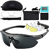 IWILCS Gafas de Sol Deportivas,Gafas de Ciclismo Para Hombres y Mujeres,Gafas Ciclismo Equipado Con 5 lentes Intercambiables de Protección UV400N Para Bicicletas, Esquí, Conducción, Pesca