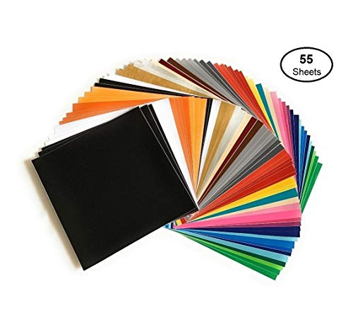 Self Adhesive Vinyl Sheets, 55 Pack 12'x12' Assorted Colors by AD American Deluxe Vinyl Craft, Premium Permanent Vinyl Bundle for Cricut Maker, Silhouette Cameo Vinyl, Cricut Vinyl Explore Air, Decals