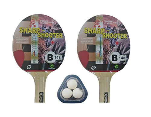 Set de Ping Pong (2 palas y 3 pelotas) Kounga GD Sharp Shooter, Unisex Adulto, Rojo/Negro, Talla Única