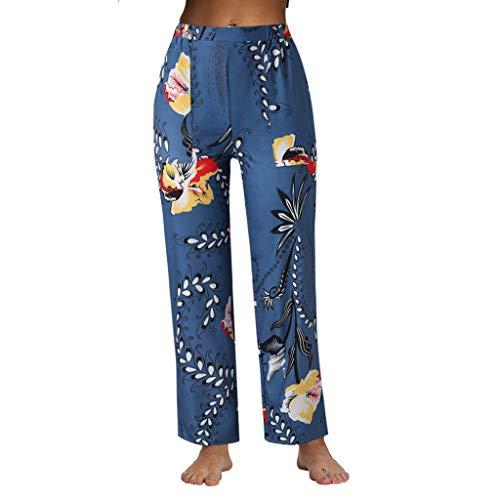 Lulupi Baumwolle Hose Damen Sommerhose Lang   Frauen Weite Hose spleißen Floral Prints   Leichte Sommer Hose   Weite Chillerhose mit