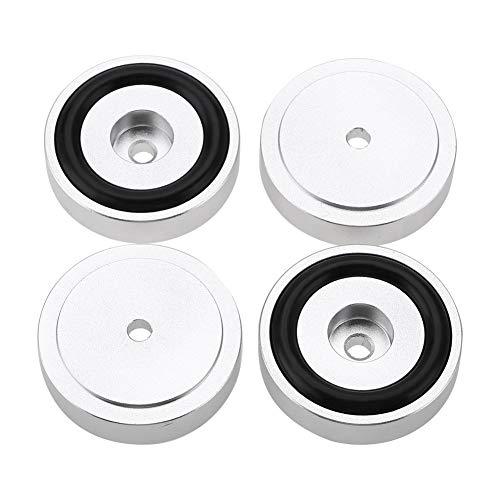 Diyeeni 4 Pcs Audio Geräte Füße, Aluminium Lautsprecher Füße, Subwoofer Spikes Absorber, Verstärker Füße Stoßdämpfer, Silber (Durchmesser: 40 mm, Höhe: 10 mm)