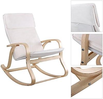 Helloshop26 Fauteuil à Bascule Rocking Chair Relaxation Lounge, Bouleau, Blanc, 95 x 62 x 17 cm
