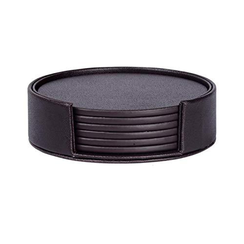 DYecHenG Posavasos 6 unids/Set mármol PU Cuero Cuero pliegueos placemat Taza Alfombra Porta para Tazas de Vidrio Tazas (Color : Marrón, Size : 9.5x9.5 cm)