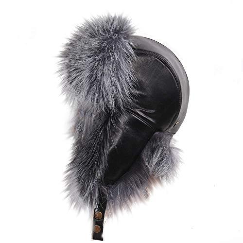 MERRYLAND Mütze ECHTFELL Leder Fliegermütze Pilotenmütze Hat Real Fur Leather Trappermütze Handmade Echt Fell Waschbär Raccoon Pelz