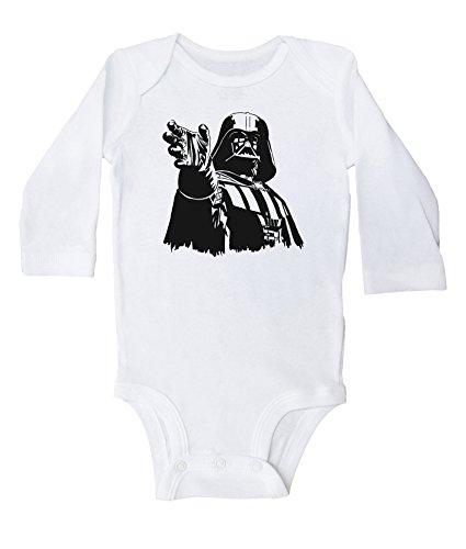 Star Wars Inspired Baby Bodysuit / DARTH VADER / Unisex Baby Outfit / Baffle (NEWBORN, WHITE LS)