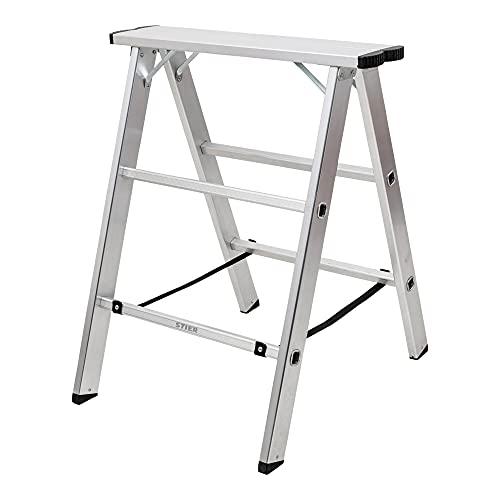 STIER Aluminiumbock, mit einer Tragfähigkeit von 150kg, 75 cm breit, 80 cm hoch, Arbeitsbock, Unterstellbock, Montagebock, Klappbock