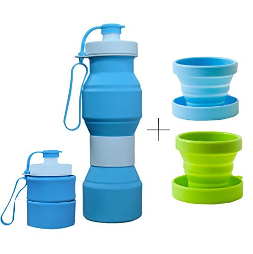 CHRISLZ Collapsible Water Bottle BPA Free Leak Proof Silicone Portable Sports Water Bottle(800ML,27 oz) BLUE(BLUE)