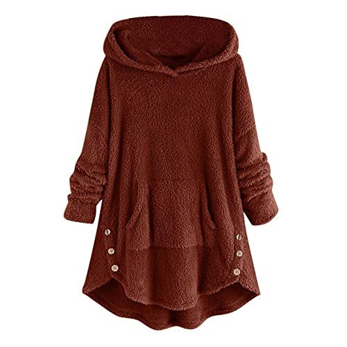 BIBOKAOKE Abrigo de forro polar de gran tamaño con capucha para mujer, abrigo largo de felpa con capucha, para otoño e invierno, suelto, chaqueta de invierno