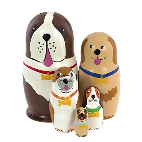 Azhna 5 piezas de 4.1 pulgadas Animal Family Souvenir Matryoshka Nesting Doll Colección Decoración del hogar pintada a mano muñeca rusa madera apilable muñeca (marrón)