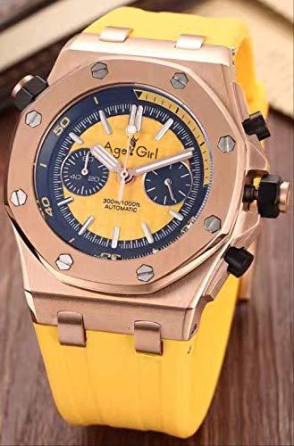 PLKNVT Hombres Nuevos Y Lujosos Relojes Deportivos Acero Inoxidable Completo Negro Caucho Azul Naranja Verde Luminoso Cronógrafo Reloj De ZafiroOro Rosa Amarillo