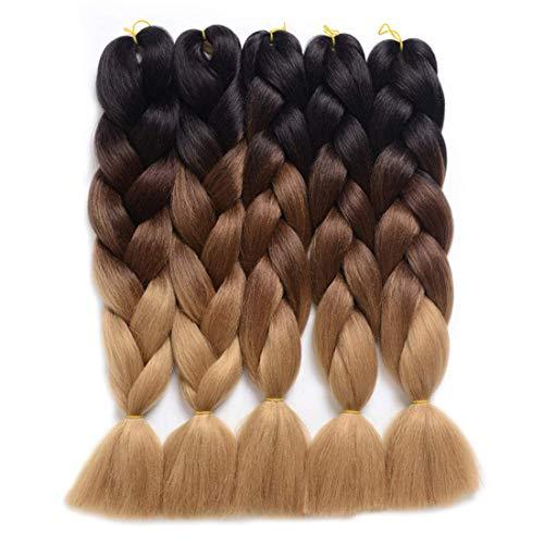 Katigan 5 PièCes SéRies Tresses Sales, DéGradé SynthéTique Cheveux Tressage, Lot Cheveux Extension pour Tresser les Cheveux