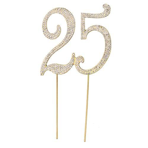 STOBOK Kuchen Topper Strass 25 Zahl Kuchendeckel Kuchendekoration für 25. Jahrestag Geburtstag Party Zubehör (Golden)