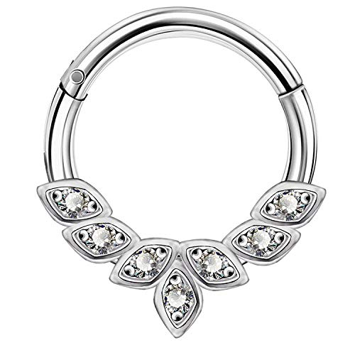 OUFER 16G 316L Stainless Steel Daith Earrings Hoop Cluster CZ Hinged Segment Clicker Daith Clicker Helix Ear Piercing