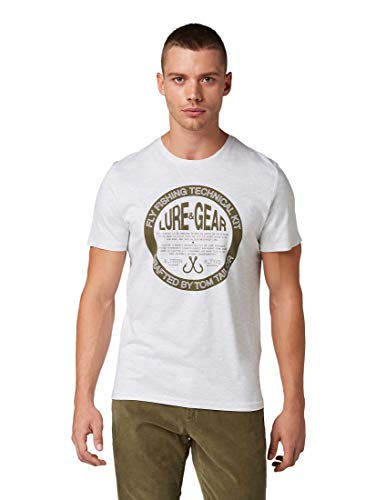 TOM TAILOR Herren T-Shirts/Tops T-Shirt mit Schriftzug-Print Blanc De Blanc White Melange,L