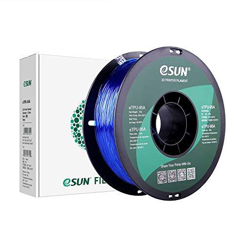 eSUN Filamento TPU Flexible 1.75mm, Filamento TPU 95A de Impresión 3D, Precisión Dimensional +/- 0.05mm, 1KG (2.2 LBS) de Carrete para Impresora 3D, Azul Transparente