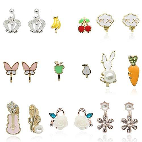 Clips de Oreja de Flor de Pollo, alas de Ángel de Dibujos Animados, Pendientes de Corona de Cereza y Manzana con borlas para niña, Pendientes de Gato esmaltados con Animales