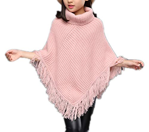 Girls Wool Knit Cape Poncho Oversized Sweater Cardigan Soft Wrap Tops 160 Pink