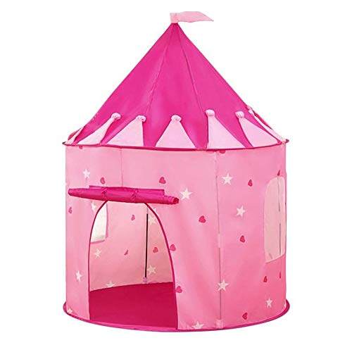 JINDEN Easy Set Up Ultralight Tent, Tent Princess Castle Pink Children's Tent Play House Yurt Kids Indoor Small House Girl Princess Room Toy House Castle Kids Tent Features In The Dark Stars