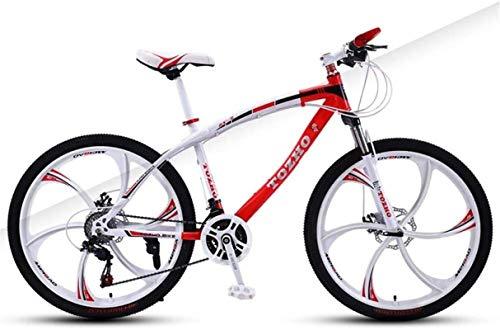 HCMNME Mountain Bikes, 24 Pollici Mountain Bike Adulto velocità velocità Ammortizzatore Ammortizzatore Bicicletta Dual Disc Freno a Disco Six Blade Bicycle Telaio in Lega con Freni a Disco