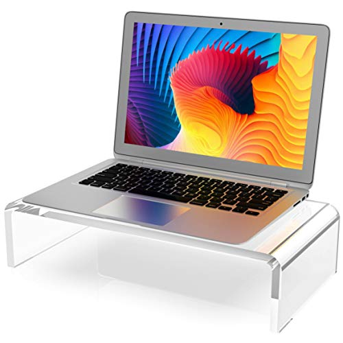 Clear Computer Stand 16 inch, Acrylic Computer Monitor Riser with Sturdy, Hold up to 40lbs Desktop Monitor Stand Heavy Duty Computer Stand Acrylic, 12mm Thickness Computer Stand for Office, Home