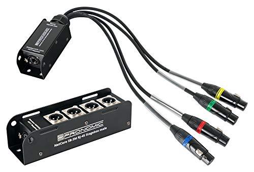 Pronomic NetCore SB-3M/SP-3F Set - Multicore-Lösung - Stagebox mit 4 XLR-Buchsen (male) - Peitsche mit 4 XLR-Steckern (female) - zur Übertragung analoger oder digitaler Signale über Netzwerkkabel