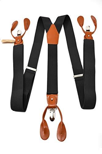 Oxford Collection Bretelle Nero di alta qualità completamente Regolabili - 3 Clip o 6 Bottoni (personalizzabili)- Forma di Y - Classiche, Eleganti e Moderne