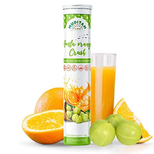 Muditam Ayurveda Amla Orange Crush Tablet   Vitamin C effervescent tablets for Skin, Hairs & Eyes   Amla Orange Extract 20 Effervescent tablets   Immunity Booster - Antioxidant Builder