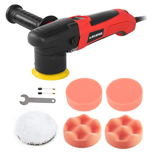 MANUSAGE 3Inch Dual Action Car Polisher25Amp Variable Speed Buffer Polisher SanderDetachable Handle4 Foam amp 1 Wool Pads for Home Appliance PolishingCar SandingWaxingSealing Glaze