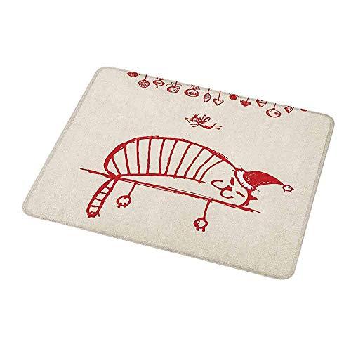 Maus-Padgaming-Weihnachten, lustige Katze, die mit einem Hut und der kleinen Fee h盲ngenden Weihnachtsverzierungen k眉nstlerischer Stil, Redfor Magic Mouse schl盲ft