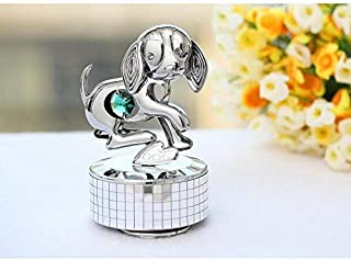"Matashi Chrome Plated Dog Music Box ""Love Story"" 